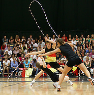 Loughborough, England - Saturday 31 July 2010: Fabian Fischer, Kimberly Kuschmann and Vanessa Steinmetz of Germany in action in the Double Dutch event during the World Rope Skipping Championships held at Loughborough University, England. The championships run over 7 days and comprise junior categories for 12-14 year olds in the World Youth Tournament, 15-17 year olds male and female championships, and any age open championships. In the team competitions, 6 events are judged, the Single Rope Speed, Double Dutch Speed Relay, Single Rope Pair Freestyle, Single Rope Team Freestyle, Double Dutch Single Freestyle and Double Dutch Pair Freestyle. For more information check www.rs2010.org. Picture by Andrew Tobin/Picture It Now.