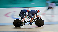 20160911 Copyright onEdition 2016©<br /> Free for editorial use image, please credit: onEdition<br /> <br /> Cyclist James Ball (Tandem B - 1000m Time Trial Final) from Ponthir, competing for ParalympicsGB at the Rio Paralympic Games 2016.<br />  <br /> ParalympicsGB is the name for the Great Britain and Northern Ireland Paralympic Team that competes at the summer and winter Paralympic Games. The Team is selected and managed by the British Paralympic Association, in conjunction with the national governing bodies, and is made up of the best sportsmen and women who compete in the 22 summer and 4 winter sports on the Paralympic Programme.<br /> <br /> For additional Images please visit: http://www.w-w-i.com/paralympicsgb_2016/<br /> <br /> For more information please contact the press office via press@paralympics.org.uk or on +44 (0) 7717 587 055<br /> <br /> If you require a higher resolution image or you have any other onEdition photographic enquiries, please contact onEdition on 0845 900 2 900 or email info@onEdition.com<br /> This image is copyright onEdition 2016©.<br /> <br /> This image has been supplied by onEdition and must be credited onEdition. The author is asserting his full Moral rights in relation to the publication of this image. Rights for onward transmission of any image or file is not granted or implied. Changing or deleting Copyright information is illegal as specified in the Copyright, Design and Patents Act 1988. If you are in any way unsure of your right to publish this image please contact onEdition on 0845 900 2 900 or email info@onEdition.com