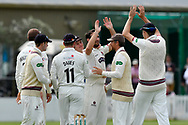 Wicket - Lewis Gregory of Somerset celebrates taking the wicket of Tom Fell of Worcestershire during the Specsavers County Champ Div 1 match between Somerset County Cricket Club and Worcestershire County Cricket Club at the Cooper Associates County Ground, Taunton, United Kingdom on 22 April 2018. Picture by Graham Hunt.