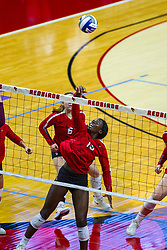 BLOOMINGTON, IL - September 28: Emmy Ogogor during a college Women's volleyball match between the ISU Redbirds and the Southern Illinois Salukis on September 28 2019 at Illinois State University in Normal, IL. (Photo by Alan Look)