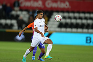 Kyle Naughton of Swansea city in action. EFL Cup. 3rd round match, Swansea city v Manchester city at the Liberty Stadium in Swansea, South Wales on Wednesday 21st September 2016.<br /> pic by  Andrew Orchard, Andrew Orchard sports photography.