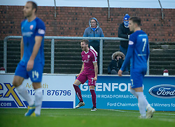 Arbroath's Danny Denholm cele scoring their goal. half time : Arbroath 1 v 0 Montrose, Scottish Football League Division One played 10/11/2018 at Arbroath's home ground, Gayfield Park.