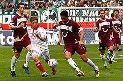 14.05.2011, AWD Arena, Hannover, GER, 1.FBL, Hannover 96 vs 1.FC Nuernberg, im Bild Julian Wiessmeier (Nuernberg #31) und Karim Haggui (Hannover #21) .EXPA Pictures © 2011, PhotoCredit: EXPA/ nph/  Schrader       ****** out of GER / SWE / CRO  / BEL ******