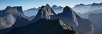 VIew across rugged mountain peaks from the summit of Branntuva (702m), Moskenesøy, Lofoten Islands, Norway