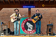 David Walburn and Michael Atherton perform at The Gunsight Bar in downtown Columbia Falls, Montana, USA