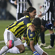 Fenerbahce's Mehmet TOPUZ (L) during their Turkish Superleague Derby match Besiktas between Fenerbahce at the Inonu Stadium at Dolmabahce in Istanbul Turkey on Sunday, 20 February 2011. Photo by TURKPIX