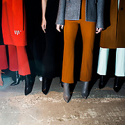 Models pose backstage during first looks at the Narciso Rodriguez fashion show in Manhattan, New York, USA on February 14, 2017. John Taggart for The New York Times.