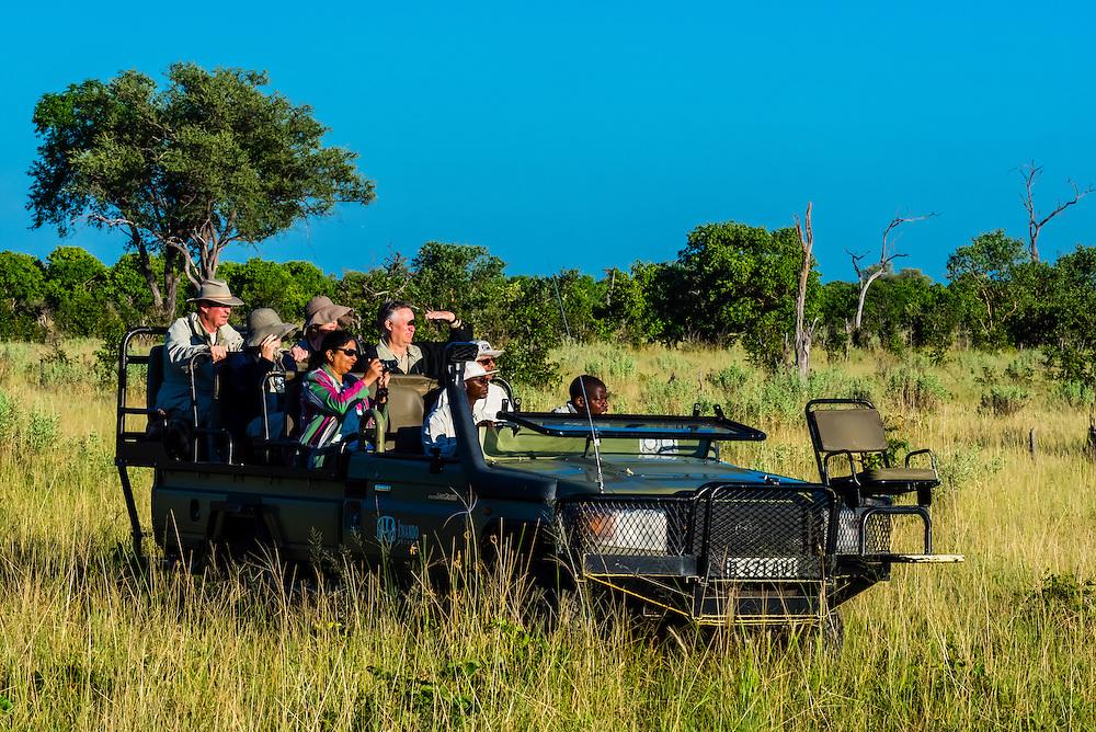 Safari vehicle, Kwando Concession, Linyanti Marshes, Botswana.