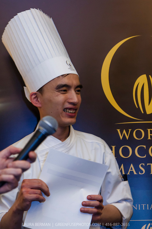"""Chris Kwok: 2nd place winner and Best Classic Dessert Revisited """"Tarte au Sucre"""" . World Chocolate Masters Canadian Selection, January 20, 2013."""