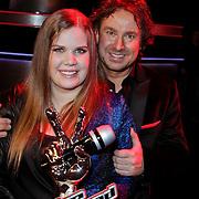 NLD/Hilversum/20120120 - Finale the Voice of Holland 2012, winnares Iris Kroes en haar coach Marco Borsato