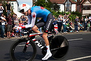 London, UK. Wednesday 1st August 2012. The Men's Individual Time Trial cycling event passes through Twickenham on route to find the fastest male cyclist. Rider Ryder Hesjedal of Canada.