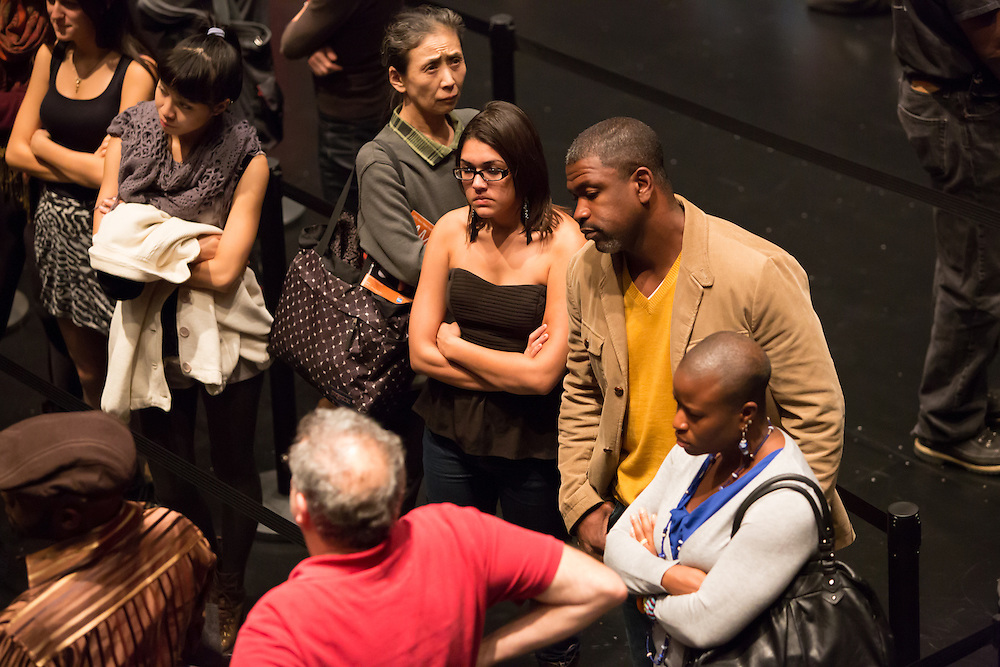 "Dread Scott Decision, a participatory performance that looks at ""the contradiction of a country that was ostensibly founded on democracy but that also has slavery woven into its founding document,"" at the Brooklyn Academy of Music's Fishman Space."