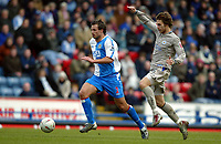 Fotball<br /> FA-cup 2005<br /> 5. runde<br /> Blackburn v Leicester<br /> 13. mars 2005<br /> Foto: Digitalsport<br /> NORWAY ONLY<br /> Lucas Neill of Blackburn is chased by Gareth Williams of Leicester