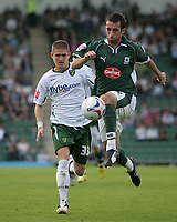 Photo: Lee Earle.<br /> Plymouth Argyle v Norwich City. Coca Cola Championship. 23/09/2006. Plymouth's Tony Capaldi (R) gets past Carl Robinson.