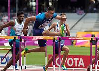 Athletics - 2017 IAAF London World Athletics Championships - Day Three, Morning Session<br /> <br /> 110m Hurdles Men - Heats<br /> <br /> Devon Allen (United States) clears the high hurdle at the London Stadium<br /> <br /> COLORSPORT/DANIEL BEARHAM