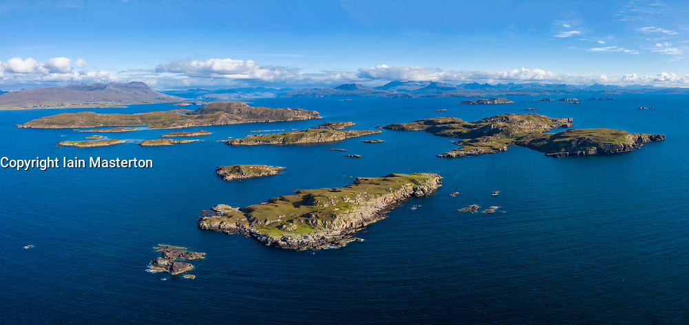 Aerial view of the Summer Isles archipelago lying in the mouth of Loch Broom, in Highland region of Scotland.