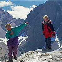 Ben & Nick Wiltsie (MR) romp on a granite dome in the John Muir Wilderness of California's Sierra Nevada.
