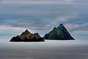 Skellig Michael, (right) and Little Skellig off the Kerry Coast in County Kerry Ireland. The monastery can bee seen at the top of the green grass area on Skellig Michael.<br /> Picture macmonagle.com