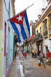 Street Scene With Cuban Flag, Old Havana