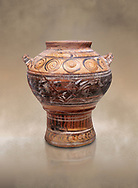 Minoan rhython with painted decoration, Zakros Palace  1600-1450 BC; Heraklion Archaeological  Museum. .<br /> <br /> If you prefer to buy from our ALAMY PHOTO LIBRARY  Collection visit : https://www.alamy.com/portfolio/paul-williams-funkystock/minoan-art-artefacts.html . Type -   Heraklion   - into the LOWER SEARCH WITHIN GALLERY box. Refine search by adding background colour, place, museum etc<br /> <br /> Visit our MINOAN ART PHOTO COLLECTIONS for more photos to download  as wall art prints https://funkystock.photoshelter.com/gallery-collection/Ancient-Minoans-Art-Artefacts-Antiquities-Historic-Places-Pictures-Images-of/C0000ricT2SU_M9w