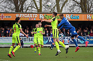 Bolton Wanderers defender Ryan Delaney (6) battles for possession with AFC Wimbledon striker Joe Pigott (39) during the EFL Sky Bet League 1 match between AFC Wimbledon and Bolton Wanderers at the Cherry Red Records Stadium, Kingston, England on 7 March 2020.