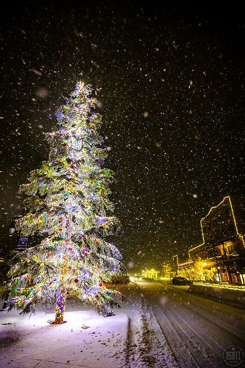 """""""Snowy Christmas Tree in Truckee 10"""" - Photograph of a snow-covered Christmas tree at night, during a snowstorm, in Historic Downtown Truckee, California."""