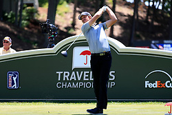 June 21, 2018 - Cromwell, CT, U.S. - CROMWELL, CT - JUNE 21: Aaron Baddeley of Australia hits from the 18th tee during the First Round of the Travelers Championship on June 21, 2018, at TPC River Highlands in Cromwell, Connecticut. (Photo by Fred Kfoury III/Icon Sportswire) (Credit Image: © Fred Kfoury Iii/Icon SMI via ZUMA Press)