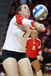09 October 2009: Laura Wakefield sets the ball to the front. The Redbirds of Illinois State defeated the Braves of Bradley in 3 sets during play in the Redbird Classic on Doug Collins Court inside Redbird Arena in Normal Illinois