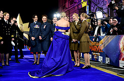 Brie Larson speaks to women from the UK Armed Forces whilst attending the Captain Marvel European Premiere held at the Curzon Mayfair, London. Picture date: Wednesday February 27, 2019. Photo credit should read: Ian West/PA Wire