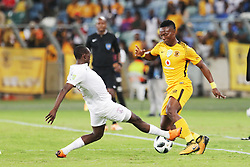 21042018 (Durban) Chiefs player Nhlanhla Vilakazi tackle with Stars Player Nyiko Mobbie when Kaizer Chiefs takes on Free State Stars in the first Semi-Final at the Moses Mabhida Stadium On Saturday evening. FreeState let the way with a lead of 2-0 before halftime<br /> Picture: Motshwari Mofokeng/ANA