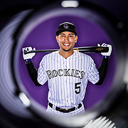 SCOTTSDALE, AZ - FEBRUARY 23: Colorado Rockies outfielder Carlos Gonzalez #5 poses for a photo during the Colorado Rockies photo day on Feb. 23, 2017 at Salt River Fields at Talking Stick in Scottsdale, Ariz. (Photo by Ric Tapia/Icon Sportswire)