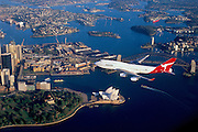 Boeing 747-400-438 over Sydney Harbour