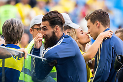 July 3, 2018 - St Petersburg, Russia - 180703 Jimmy Durmaz of Sweden talks to relatives and Victor Nilsson Lindelöf kisses his wife Maja Nilsson after winning the FIFA World Cup round of 16 match between Sweden and Switzerland on July 3, 2018 in ST Petersburg..Photo: Petter Arvidson / BILDBYRÃ…N / kod PA / 87748 (Credit Image: © Petter Arvidson/Bildbyran via ZUMA Press)