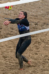 Mexime van Driel in action. The DELA NK Beach volleyball for men and women will be played in The Hague Beach Stadium on the beach of Scheveningen on 22 July 2020 in Zaandam.