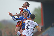 Ollie Rathbone tangles with Bradford players during the EFL Sky Bet League 1 match between Rochdale and Bradford City at Spotland, Rochdale, England on 21 April 2018. Picture by Daniel Youngs.