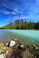 Castle Mountain and the Bow River, Banff National Park in summer in the Canadian Rocky Mountains, Alberta, Canada