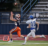 North's Parker Brehm makes a catch during the first half of a scrimmage between McKinney North and Frisco High School on Friday, Aug. 19, 2016 at Ron Poe Stadium in McKinney. (Photo by Kevin Bartram of www.buzzzphotos.com)