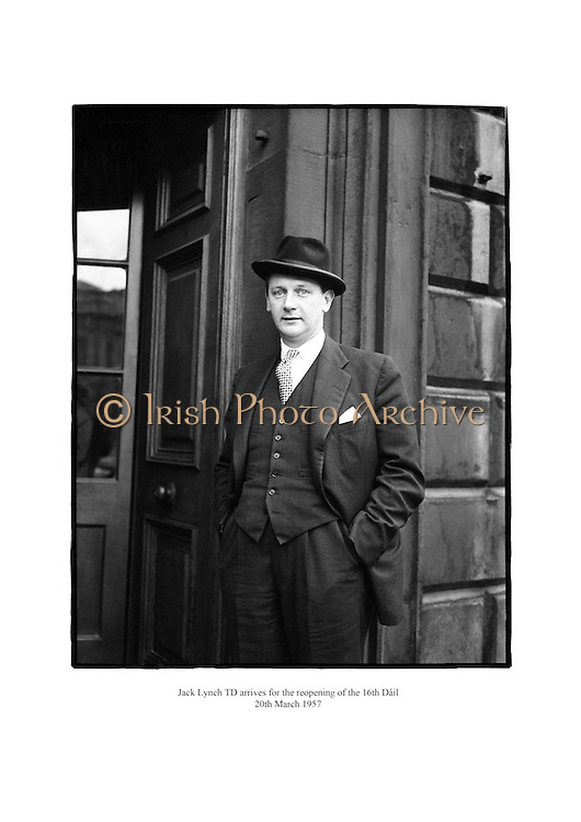 Jack Lynch arriving for the opening of the 16th Dáil.<br /> <br /> 20th March 1957<br /> 20/03/1957