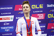 Podium, Women Individual Pursuit, Justyna Kaczkowska (Poland) Bronze medal during the Track Cycling European Championships Glasgow 2018, at Sir Chris Hoy Velodrome, in Glasgow, Great Britain, Day 3, on August 4, 2018 - Photo Luca Bettini / BettiniPhoto / ProSportsImages / DPPI