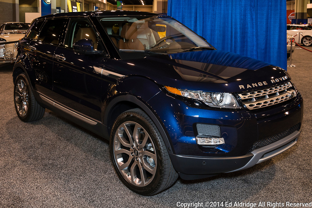 CHARLOTTE, NORTH CAROLINA - NOVEMBER 20, 2014: Range Rover Evoque on display during the 2014 Charlotte International Auto Show at the Charlotte Convention Center.
