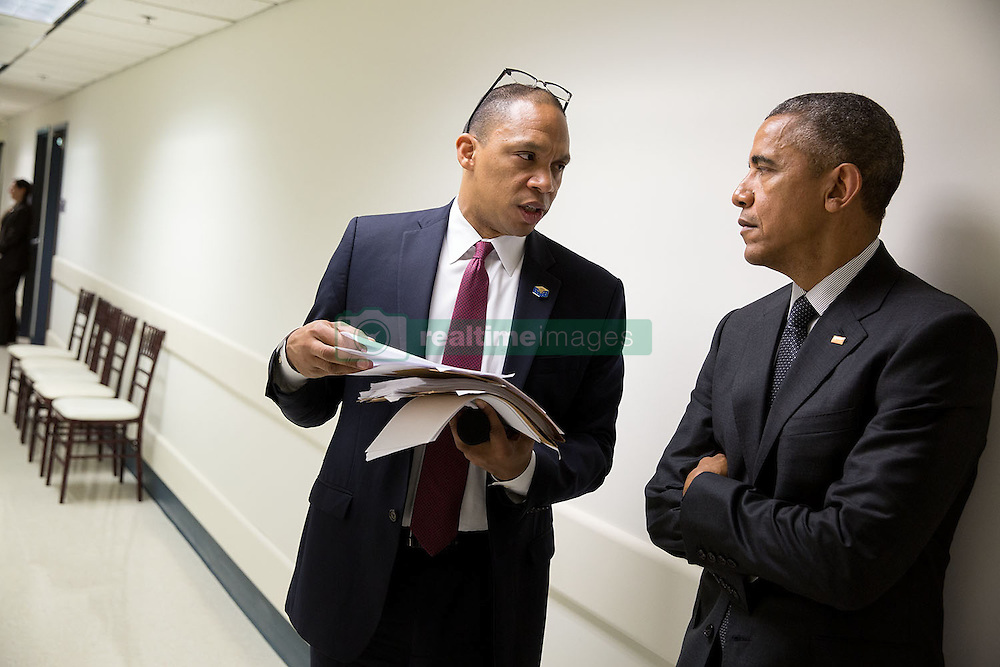 President Barack Obama speaks with Rob Nabors, Senior Advisor to the Veterans Affairs Secretary, prior to a briefing on the progress made to improve the Department of Veterans Affairs' ability to serve veterans in a timely and effective manner, at the Phoenix VA Medical Center in Phoenix, Ariz., March 13, 2015. (Official White House Photo by Pete Souza)<br /> <br /> This official White House photograph is being made available only for publication by news organizations and/or for personal use printing by the subject(s) of the photograph. The photograph may not be manipulated in any way and may not be used in commercial or political materials, advertisements, emails, products, promotions that in any way suggests approval or endorsement of the President, the First Family, or the White House.