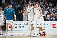 Real Madrid Luka Doncic, Jaycee Carroll, Felipe Reyes and Jeffery Taylor during Turkish Airlines Euroleague match between Real Madrid and FC Barcelona Lassa at Wizink Center in Madrid, Spain. December 14, 2017. (ALTERPHOTOS/Borja B.Hojas)