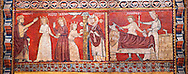 Gothic panel depicting scenes from the Life of St Nicholas. End of the 13th century, fresco transferred to canvas from a mural on the north wall of  The Church of San Fructuoso, Nicholas and John the Evangelist, Huesca, Spain. Inv MNAC 45796. National Museum of Catalan Art (MNAC), Barcelona, Spain .<br /> <br /> If you prefer you can also buy from our ALAMY PHOTO LIBRARY  Collection visit : https://www.alamy.com/portfolio/paul-williams-funkystock/gothic-art-antiquities.html  Type -     MANAC    - into the LOWER SEARCH WITHIN GALLERY box. Refine search by adding background colour, place, museum etc<br /> <br /> Visit our MEDIEVAL GOTHIC ART PHOTO COLLECTIONS for more   photos  to download or buy as prints https://funkystock.photoshelter.com/gallery-collection/Medieval-Gothic-Art-Antiquities-Historic-Sites-Pictures-Images-of/C0000gZ8POl_DCqE