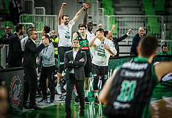 Aleksandar Saso Nikitovic, coach of Petrol Olimpija and other players celebrate during basketball match between KK Petrol Olimpija and Mega Bemax in Round #15 of ABA League 2018/19, on January 13, 2019 in Arena Stozice, Ljubljana, Slovenia. Photo by Vid Ponikvar / Sportida