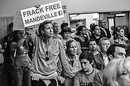 May 1, Citizens against fracking at a St. Tammany Council Meeting in Mandeville where a vote was taken on setting money aside to hire outside council to advise the council on how to keep fracking out of the parish.
