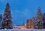 Christmas trees shining brightly at dusk with Whitefish Lake Restaurant and Big Mountain in Whitefish, Montana, USA