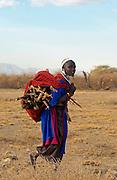 Young Masai girl  in the Serengei Plains, Tanzania, East Africa