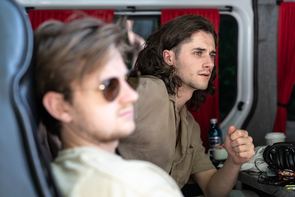 Jake Leff and Lou Cotterill of British indie-rock band Cassia backstage at the Open Ohr Festival