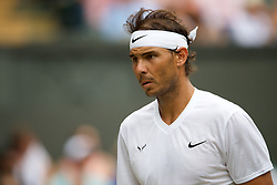 LONDON, ENGLAND - Saturday, July 6, 2019: Rafael Nadal (ESP) during the Gentlemen's Singles third round match on Day Six of The Championships Wimbledon 2019 at the All England Lawn Tennis and Croquet Club. Nadal won 6-2, 6-3, 6-2. (Pic by Kirsten Holst/Propaganda)