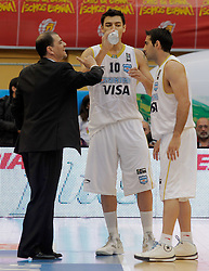 15.08.2010, Logroo, ESP, Friendly Basketball LS, Spain vs Argentia, im Bild Argentina's coach Sergio Hernandez and the players Carlos Delfino and Paolo Quinteros during Friendly match. EXPA Pictures © 2010, PhotoCredit: EXPA/ Alterphotos/ Acero +++++ ATTENTION - OUT OF SPAIN +++++